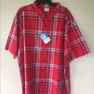 NWT Columbia Men's 3XLT Tall Button Red